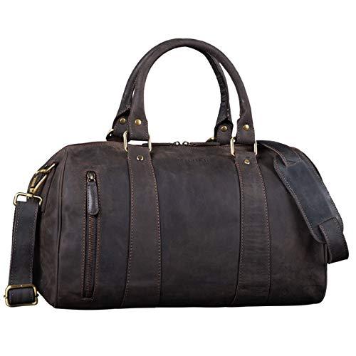 STILORD 'Keanu' Leder Weekender Herren kleine Vintage Reisetasche zum Umhängen Handgepäck Reisegepäck in Kabinengröße echtes Rindsleder, Farbe:dunkel - braun