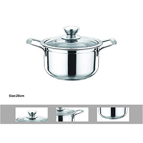 Smart-Planet® roestvrij stalen pan 24 cm Ø met glazen deksel - 6 liter - ongecoat roestvrij staal 18/10 SUS304, vaatwasmachinebestendig - kookpan