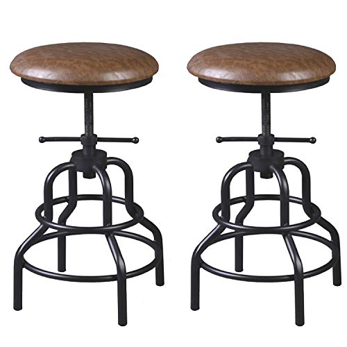 Diwhy Industrial Vintage Bar Stool,Kitchen Counter Height Adjustable Pipe Stool,Cast Iron Stool,Swivel Bar Stool,Metal Stool,27 Inch,Fully Welded Set of 2 (Brown PU Leather Top)