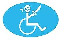 【全16色】車椅子マーク/車イス サイン/カー ステッカー/Car/スカル/ドクロ/車用/シール/ Vinyl/Decal /バイナル/デカール/-3A (スカイブルー) [並行輸入品]