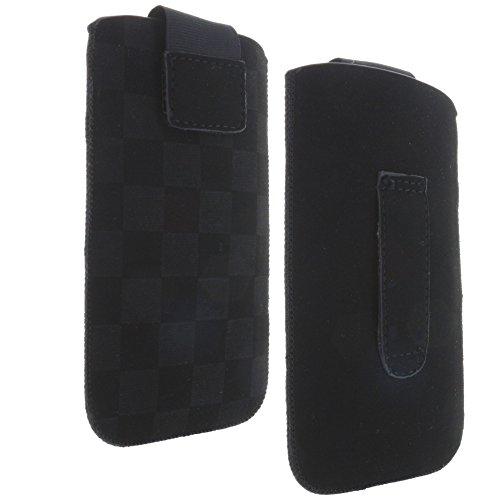 Handytasche mit Ausziehhilfe Größe 2XL passend für Nokia 1 / Samsung Galaxy A3 2016 2017 - S4 - Xcover 2 - Xcover 3 / Sony Xperia E1 E3 - Handy Hülle schwarz
