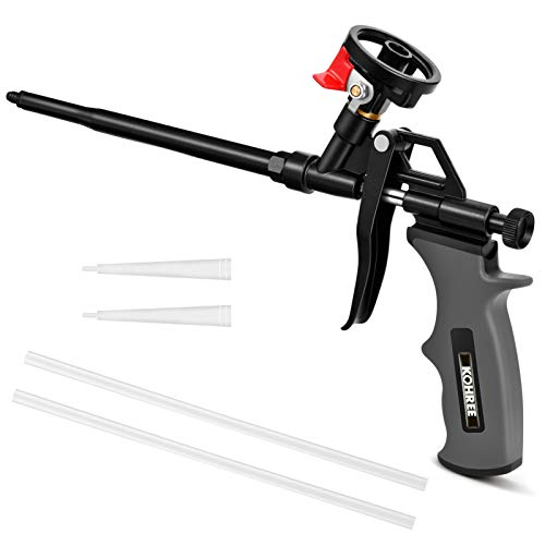 KOHREE - Pistola de espuma de poliuretano profesional, incluye accesorios, color negro
