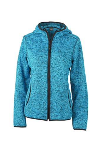2Store24 Ladies' Knitted Fleece Hoody in Blue-Melange/Black Taille: XL