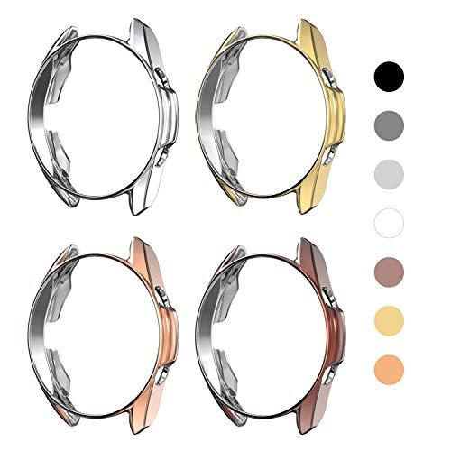 Yolovie (4 Stück) Schutzhülle kompatibel mit Samsung Galaxy Watch 3 41mm, Silikon, robust, R&umschutz, Gesichtsabdeckung, Zubehör (41mm Silber/ Rosegold/ Gold/ Mystic Bronze)