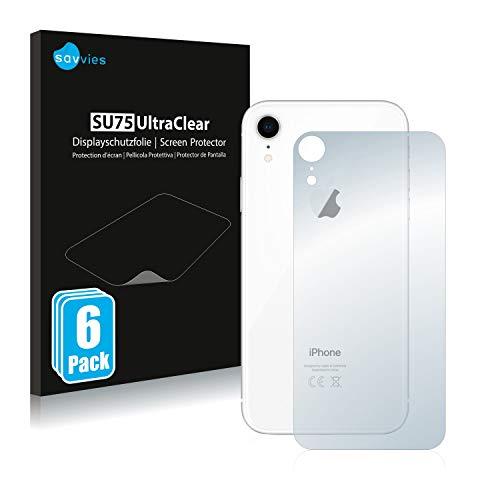 Savvies 6X Schutzfolie kompatibel mit Apple iPhone XR (Rückseite) Displayschutz-Folie Ultra-transparent
