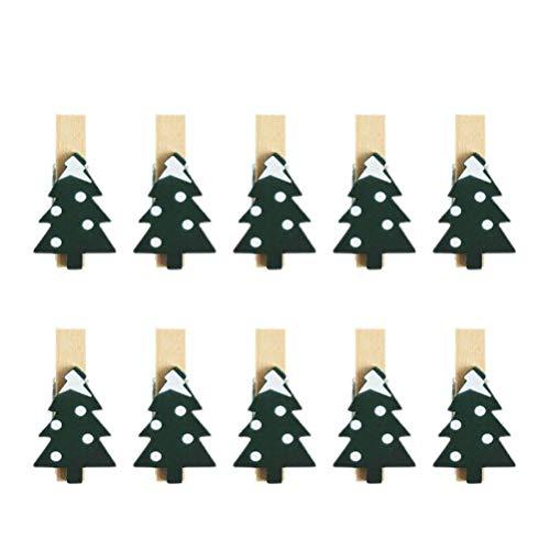 VALICLUD 30 x Weihnachtsklammern aus Holz mit Weihnachtsbaum-Muster, für Fotos, Karten, Memo-Halter für Weihnachten, Heimdekoration