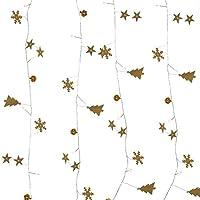 YXZQ 6.56フィート20LEDクリスマスライトガーランドゴールドクリスマスツリースノーフレークとベル付きクリスマスツリーストリングライト屋内および屋外のクリスマスツリーライト装飾用バッテリー駆動