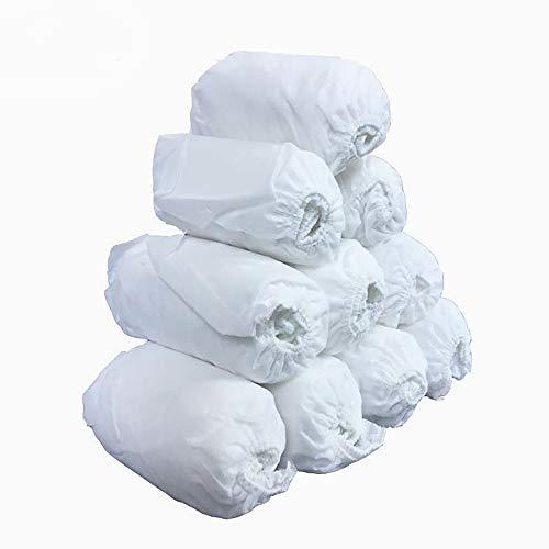 TOMYEER Lot de 100 couvre-chaussures jetables en tissu non tissé pour nettoyage de tapis Blanc