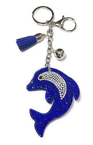 FizzyButton Gifts Royal Blue Dolphin Silhouet sleutelring handtas charm met strass en kwast