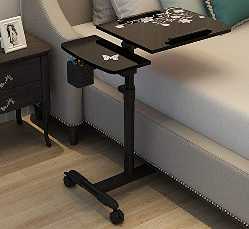 XUSHEN-HU Mesa de ordenador portátil giratoria ajustable para ordenador portátil, mesa de estudio, mesa elevada, con soporte para bolígrafo, grande, 69 x 40 cm, portátil (color: negro)