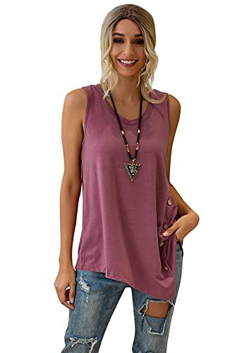 Sweetop Camiseta holgada para mujer, con botones laterales, sin mangas, cuello redondo, con parches, para mujer
