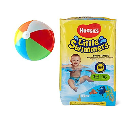 Little Swimmers Disposable Swim Pants, Small (15lb-34lb.), 12-Count - Bonus Inflatable Pool Ball (5 inch)