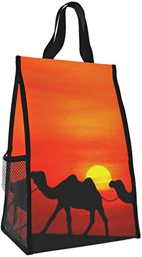 Bolsa de almuerzo plegable, bolso de mano de picnic de gran capacidad con aislamiento portátil camel para viajes de oficina de trabajo