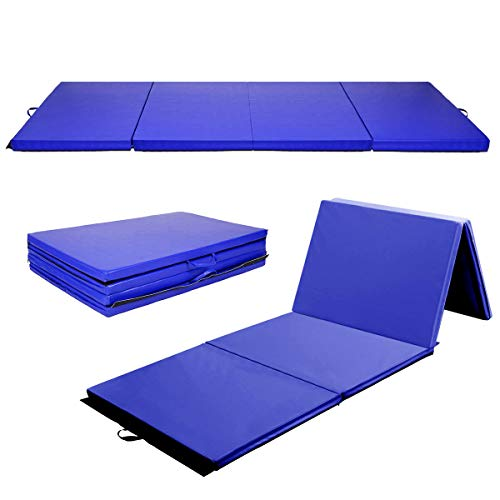 Giantex Blue 4 'X8' x2 Thick Folding Panel Gymnastics Mat Gym Fitness Exercise Mat by Globe House Products