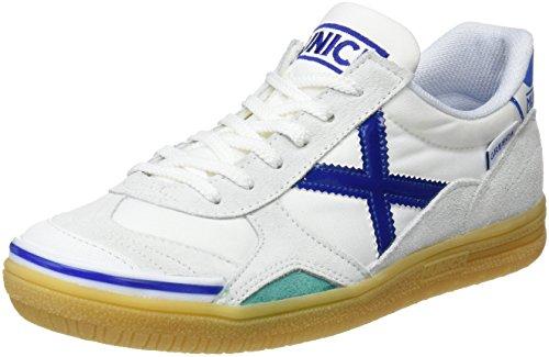 MUNICH - Gresca Kid 01 S - Indoor Soccer / Futsal Shoe - White/Blue - 2.5