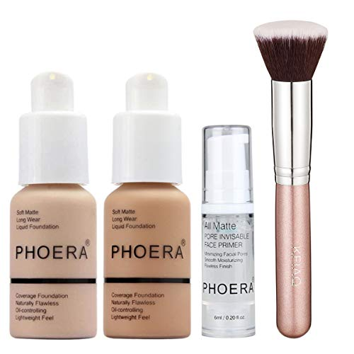 PHOERA 30ml Foundation Liquid Full Coverage 24HR Matte Oil Control Concealer (Nude & Buff Beige) with 6ml Makeup Face Primer & Kabuki Foundation Brush Flat Top