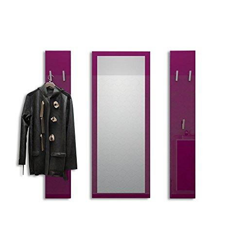 Vladon Garderobenset Garderobe Spot in Brombeer Hochglanz