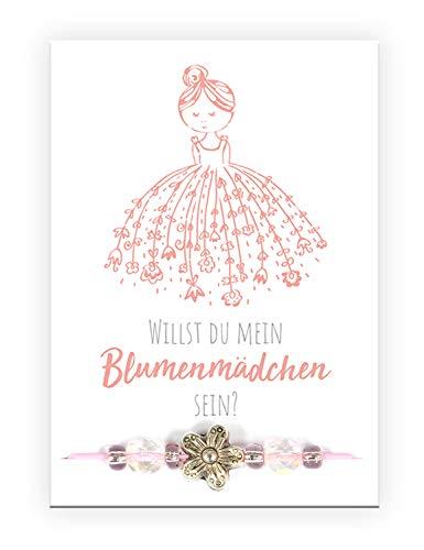 Pracht Creatives Hobby 6014-08095 Armband mit Blumen Anhänger und Karte mit passendem Spruch ideal für Blumenmädchen auf der Hochzeit