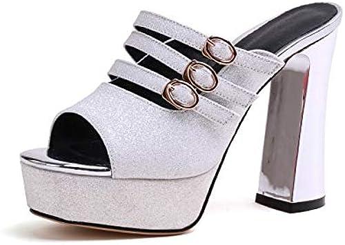 HOESCZS 2018 Peep Toe Mules Chaussures Femme Big Big Big Taille 33-42 Gros Talons Chaussures Femme Boucle Slip-on Femme Pompes 20f