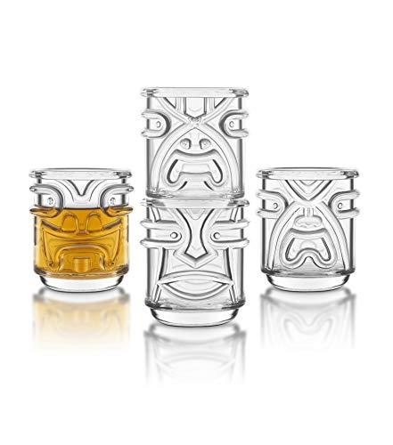 Final Touch TIKI Stapelbar TUMBLERS Glas Cocktailgläser CLEAR Klar 355ml Hawaiian Themed 4 Stück - TK5303