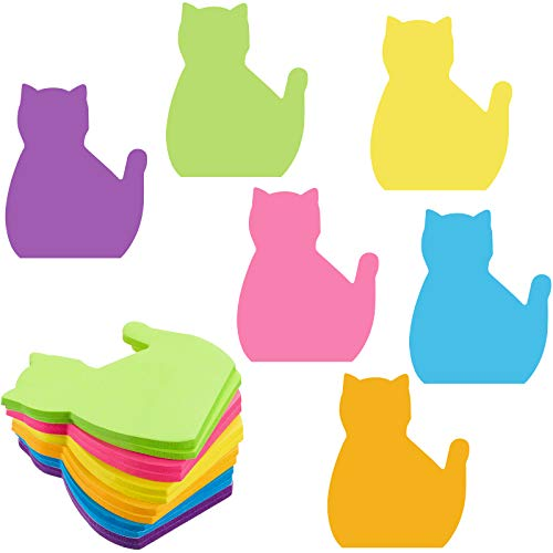 480 Sheets Cat Sticky Notes Set, 6 Colors Bright Colorful Sticky Pad 30 Sheets/Pad Cute Cat Self-Stick Notes, Study Work School Office Supplies Desk Accessories