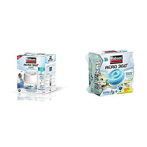 Rubson Aero 360º Baños Deshumidificador para el Baño, color blanco & Recambios para deshumificador Aero 360, color azul