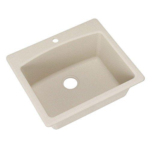 "Franke Ellipse 25"" Dual Mount Granite Single Bowl Kitchen Sink, Champagne"