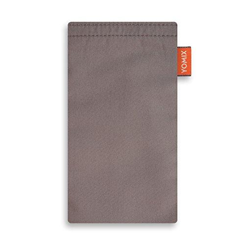 YOMIX VIIVI Grau Handytasche Tasche für Xiaomi Blackshark Helo aus Microfaser mit Microfaserinnenfutter | Hülle mit Reinigungsfunktion | Made in Germany