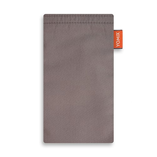 YOMIX VIIVI Grau Handytasche Tasche für Nokia 6 aus Microfaser mit Microfaserinnenfutter | Hülle mit Reinigungsfunktion | Made in Germany