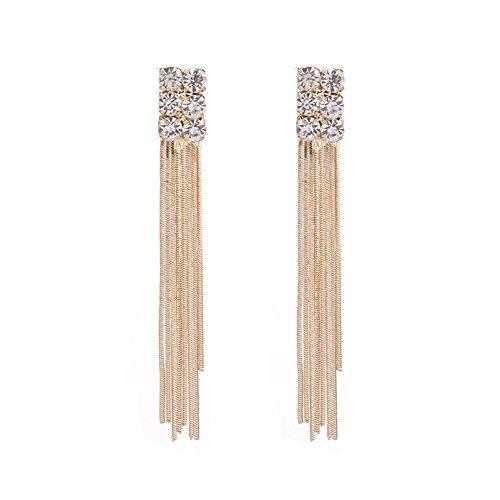 U-K Nuevos Pendientes Largos de Borla de Cristal Largos de Color Dorado para Mujer, Pendientes de Gota de Boda, Regalos de joyería de modaDiseño de Moda