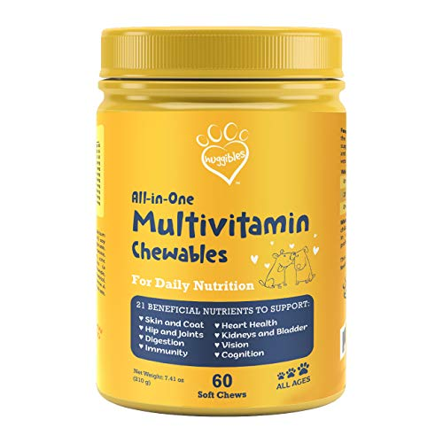 All-in-1 Dog Multivitamins and Supplement   Fish Oil, Iron, Calcium, Vitamin E, C & B12   Joint, Immune, & Vision Support   All Natural Chewable Dog Multivitamin, Multivitamin for Dogs – Huggibles