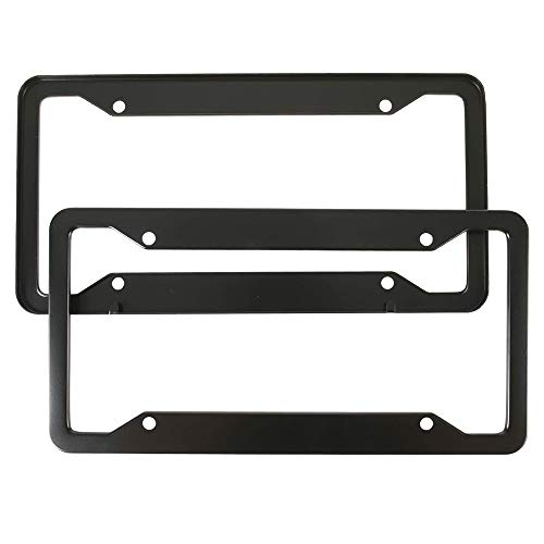 Fit License Plate Frames 2 Pack, Aluminum Alloy License Plate Holder,Universal American Auto Licence Plate Covers, Rust-Proof, Rattle-Proof, Weather-Proof