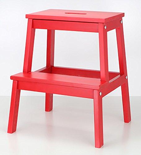 WUDENG Escabeau en bois massif avec trou chaussures de changement de ménage double couche 20 styles disponibles (Couleur : Large Chinese Red)