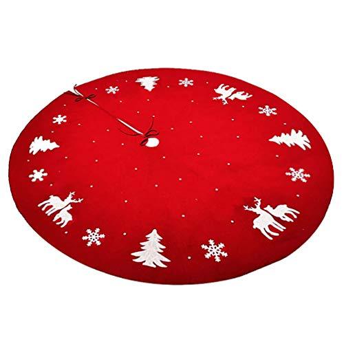 ABOOFAN Collar de Árbol de Navidad Falda de Reno Collar de Árbol de Navidad Canasta Anillo Base Soporte Cubierta Mat Granja Vacaciones Bajo El Árbol de Navidad Decoración Ornamento Rojo