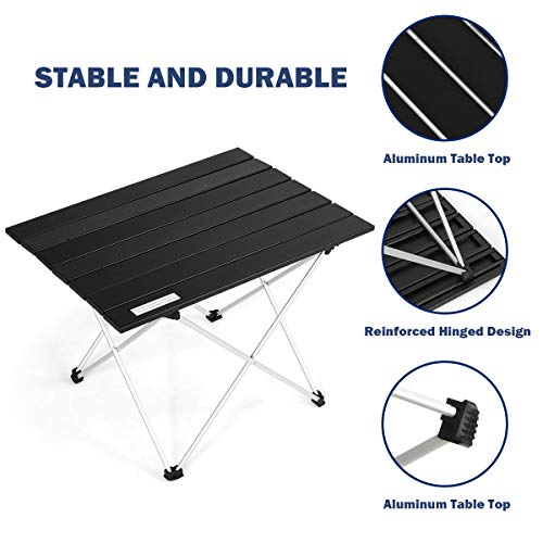 COSTWAY Portable Camping Table, Lightweight Roll up Table with Aluminum Tabletop and Carrying Bag, Outdoor Folding Picnic Table for Cooking Dining Hiking Fishing BBQ (Black, 56 x 41 x 41cm)