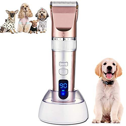 Hondentondeuse Elektrische huisdierentrimmer Geluidsarm Oplaadbare draadloze verzorgingsset voor honden en katten Haarscheerapparaat met 4 tondeuses, reinigingsborstel en olie