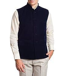Wintage Mens Velvet Bandhgala Festive Red Nehru Jacket Waistcoat