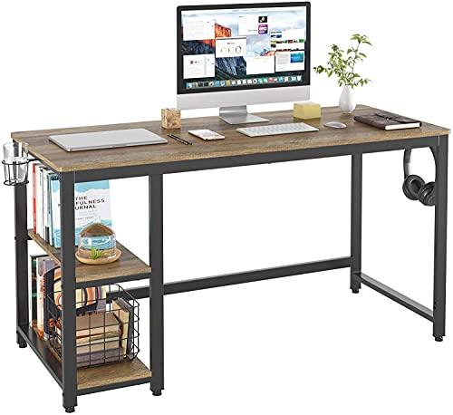 Escritorio de Computadora Mesa de Ordenador con 2 Estantes Portavaso y Porta Auriculares Escritorio de PC para Estudio y Oficina Vintage Marrón Claro 140x60x75 cm