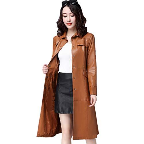 QJKai Damen Einreiher Slim Fit Mittellanger Trenchcoat Fashion Pu Leder Revers Langarm Jacke Mantel Mit Gürtel (Color : A, Size : XXL)