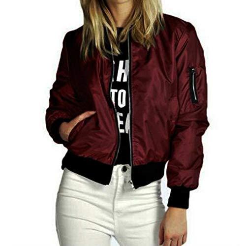 DEELIN Womens Fashion Solid Long Sleeve Tops New Bomber Jackets Slim Biker Motorcycle Soft Zipper Pocket Cardigans Raincoat Outwear Short Coat (Wine,UK-14,CN-XL)