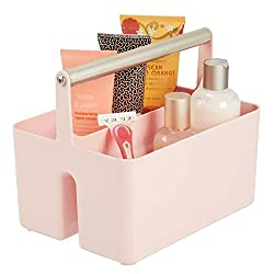 pink plastic shower caddy
