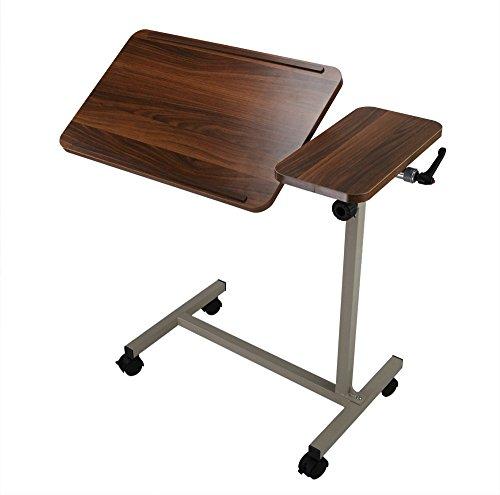 ObboMed MT-2250 in hoogte verstelbare bed- of laptoptafel met verstelbare tafelhelling en kantelbare wielen, geschikt voor eten, lezen en werken, houten patroon
