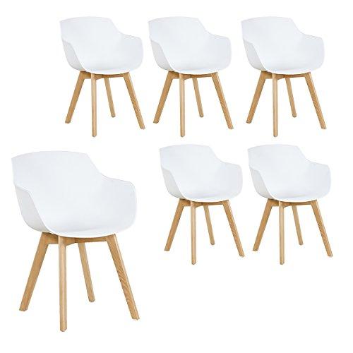 H.J WeDoo 6er-Set Wohnzimmerstuhl Esszimmerstuhl mit Armlehne und Buchenholz Retro Design Stuhl für Büro Lounge Küche Wohnzimmer (Weiß)