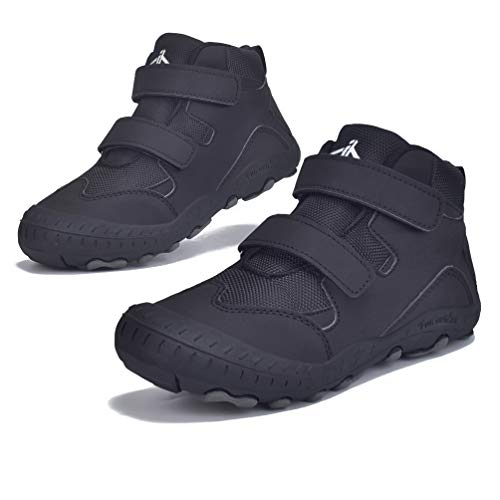 JACKSHIBO Boys Girls Ankle Hiking Boots Kids Outdoor Trekking Shoes Water Resistant Walking Sneakers for Toddler Black 11.5 Little Kid