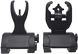 AWOTAC Flip Up Sight Backup Battle Sights Front & Rear Iron Sights Black Fits Picatinny & Weaver Rails