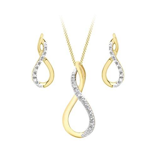 Carissima Gold Damen Schmuckset 9 Karat (375) Gelbgold Diamant 460 mm 1.45.3064