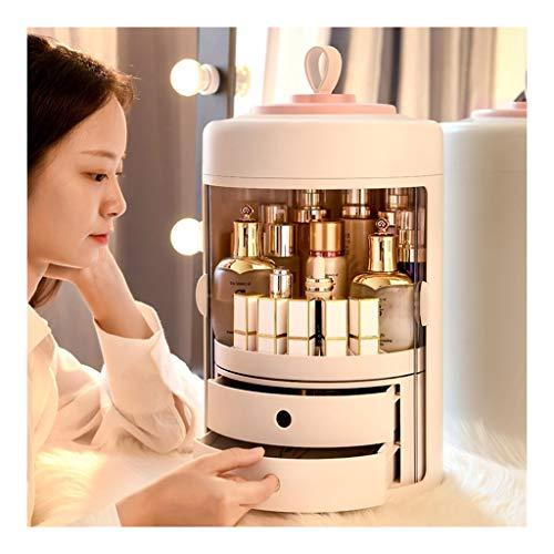 Portable Cosmétique Boîte de Rangement Organisateur de Maquillage, 360° Rotation Double Porte avec 2 Tiroirs et Poignée de Transport - Rose (Color : Pink)