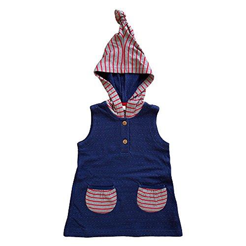 Leela Cotton bébé/Enfants Tunique avec Capuche Pointue en Pur Coton Bio - Bleu -