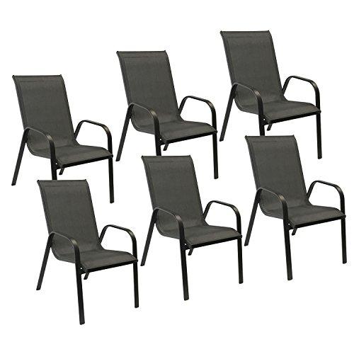 Happy Garden Lot de 6 chaises Marbella en textilène Gris - Aluminium Gris Anthracite