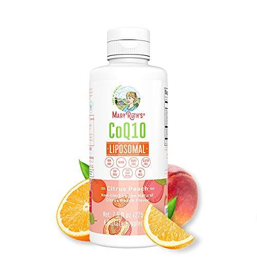 Megadose CoQ10 Liposomal by MaryRuth's (Citrus Peach)   Enhanced Absorption Liquid CoQ10   Immune Health Supplement for Men & Women   Vegan, Gluten Free, Sugar Free, Non-GMO   7.5oz